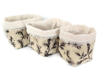 Fabric buckets, Soft bucket, Fabric Box, Storage bins, Fabric containers, Soft baskets, Craft storage bins, Romantic home decor