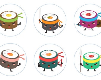 Sushi Warriors Edible Cupcake Topper Decorations - Set of 12 Toppers