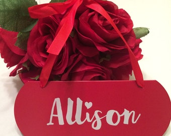 Personalized Red Metal Plaque- Valentines Gift Tag- First Name- Custom Vinyl- Name Plate- Gift Basket Tie On