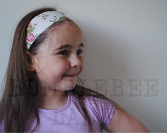 Fabric Child's Hairband elasticated, floral and pink, handmade (UK Based)