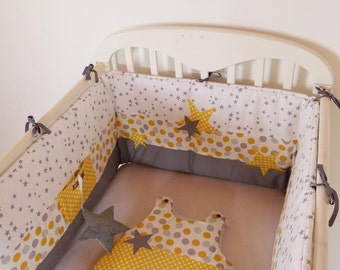 Superb set round bed, sleeping bag 0-6 months and stars, grey, white and yellow Garland, star pattern