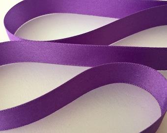 15mm Purple Double Sided Satin Ribbon Berisfords