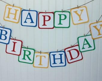 Library Birthday Party, Alphabet Birthday Party, Wooden Blocks Banner, Library Happy Birthday Banner