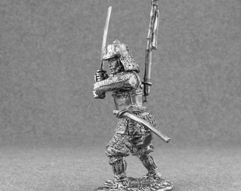 Japanese Medieval Figures 1/32 Scale Samurai Toy Soldiers 54mm Tin Metal Sculpture