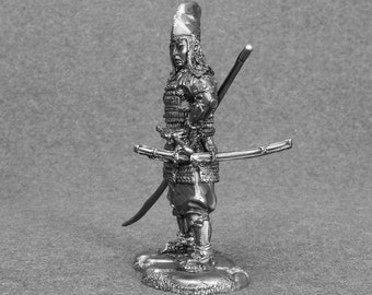 Samurai with naginata, XIII-th century. 54mm. TOY SOLDIERS. Metal miniature figure. 1/32 scale. Unpainted Sm-05