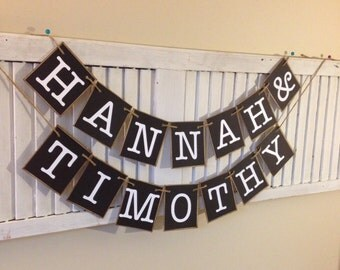 Wedding Banner Bride and Groom Personalized Names Bunting Garland Sign Black and White Photo Prop