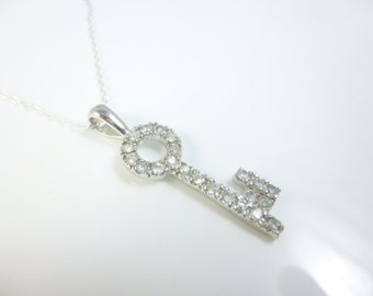 Key Necklace, Sterling Silver Key Pendant, Key Jewelry, Cubic Zirconia Necklace, Key to my Heart Necklace