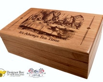 Tea Box - Alice in Wonderland Tea Party -Engraved Vintage Design- Now Available in Two Sizes! Perfect Keepake Chest Too! 100% Made in USA