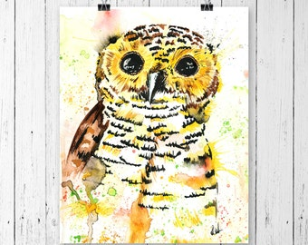 OWL art print of watercolour painting by Lisa Whitehouse, owl nursery for boys, woodland animal, wall art, home drcor, forest theme,wildlife