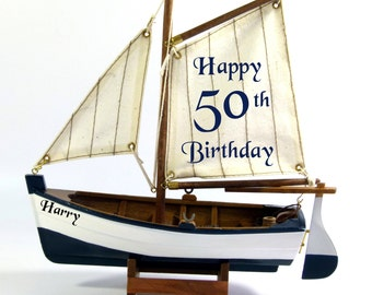 PERSONALISED BIRTHDAY gift, (for any age) wooden model sail boat, nautical gift, 22cm