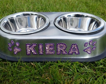 Personalised Dog/cat  feeding double stainless steel bowl