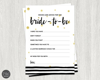 Wishes and Advice for the Bride | Black, White and Gold Bridal Shower Downloads and Games | Instant Download (5x7)