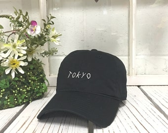 TOKYO Baseball Hat Low Profile Embroidered Baseball Caps Dad Hats Black