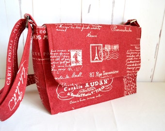 Red cross body bag, French script bag, small shoulder bag, red satchel, stylish bag, adjustable strap,  red messenger, small satchel