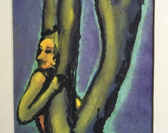 Original Painting-Abstract of Person in Tree