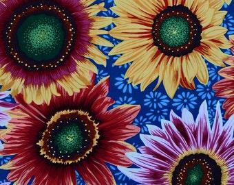Sunflower Fabric, Botanical by Snow Leopard Designs PWSL004 Free Spirit Westminster Fibers, Sunflower Quilt Fabric, Floral Fabric, Cotton