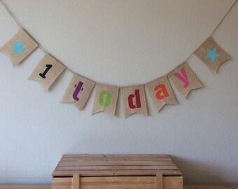 Childrens Birthday Party Bunting Banner. Hessian Burlap