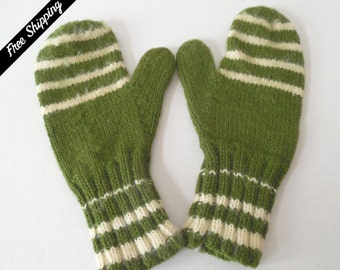 1970's Vintage Adult One Size Hand Knitted Wool Mittens Avocado Green and White