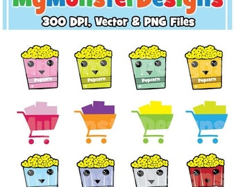 ON SALE Cute Popcorn Clipart Graphics Personal & Commercial Use, Popcorn, Clip Art, INSTANT Download, Cute Shopping Cart
