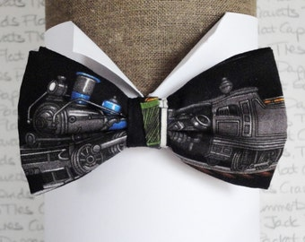 Bow tie, train print pre tied bow tie, bow ties for men, men's bow ties