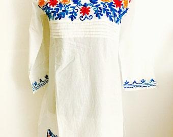 Women 100% cotton white hand embroidered Kurti kurta tunic dress top sz M