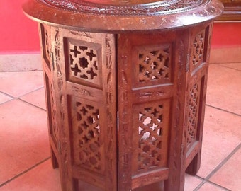 Vintage Moroccan handmade craved wood table