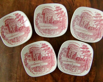 Small Red and White Porcelain Bowls, Side Plates, JOHNSON BROTHERS, Set of 5 / Mid Century English Ironstone Transferware
