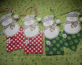 HOLIDAY GIFT TAGS, Set of 10 Snowman Gift Tags, Christmas Gift Tags, To and From Tags, Hanging Goodie Bag Tags, Snowballs, Cute Snowman Tags