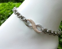 Stainless Steel Discreet BDSM Chainmaille Submissive Infinity Anklet, Peach Swarovski Crystal Pave Infinity Slave Anklet, Ankle Collar