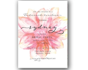 Water Colored Floral Bridesmaids Luncheon Invitation