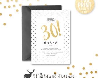 30th birthday invitation, Black and Gold Birthday Invitation, DIGITAL, 30th Birthday Invite, Black and gold Invite, Adult Party Invite