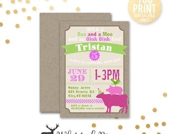 Farm Birthday Invitation, Petting Zoo birthday Invitation, Animal Party Invite, Girl Farm Birthday Invite, Digital File, Printable
