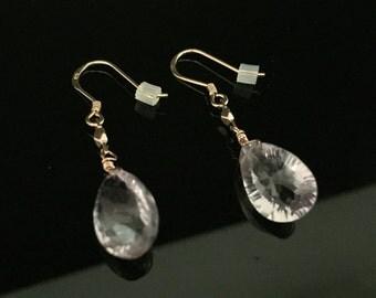 Pink Amethyst Rose Gold Earrings // 18K Rose Gold Fill // Rare Trillion Cut Pink Amethyst