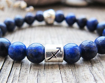 Sagittarius Birthstones December Birthstone Sagittarius bracelet Zodiac jewelry Lapis lazuli bracelet Horoscope bracelet Astrology jewelry