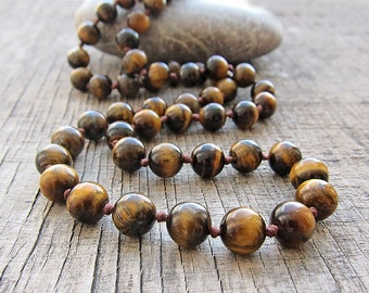 Tiger eye necklace Man necklace Male necklace Necklace for men Beaded men's necklace Beaded necklace Jewellery for Mens stone necklace