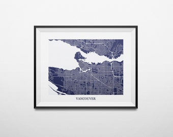 Vancouver, British Columbia Abstract Street Map Print