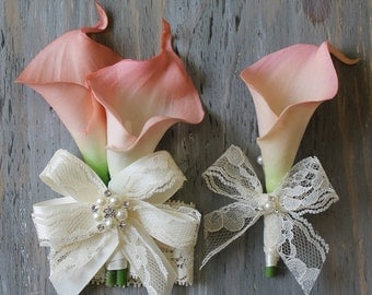 Wrist Corsage Calla Lily Corsage Boutonniere Pink  Bridal Accessories  Weddings Pink Calla Lilies Corsage Wedding Corsage Bridal Corsage