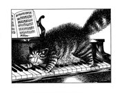 Kliban cat cartoon funny vintage print cat playing the piano feline illustration 8.5 x 10.25 inches