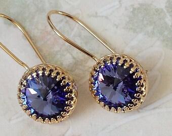 Tanzanite Crystal Earrings Swarovski Purple Crystal Earrings Purple Crystal Rhinestone Gold Crown Earrings Tanzanite Purple Earrings