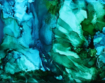 Blue Green Abstract Ink Painting, Original Alcohol Ink Painting, Alcohol Ink, Blue Green Abstract Art, Abstract Painting, Ink Painting, Ink