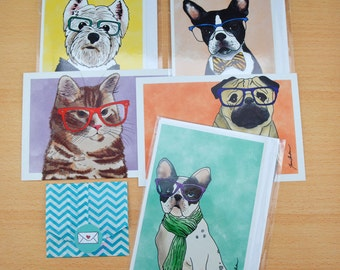 Dog and Cat Mystery Stationery Package with Stickers, Notecards and Postcards (Only 9 Available)