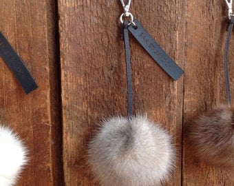 Recycled white mink fur keychain