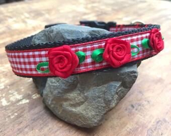 Red Dog Collar, flower dog collar, gingham dog collar, Small Dog collar, pretty dog collar, dog collar for girl, female dog collar