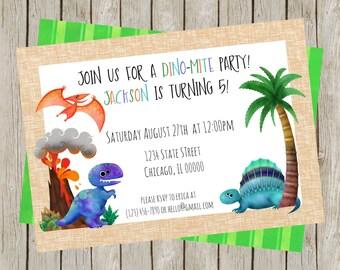 Dino-Mite Birthday Party, Dinosaur Birthday Party, Roar, Dinosaur Printable Invite, DIY Dinosaur Printable Invitation, 5x7