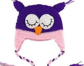 Purple Pink Sleeping Owl Crochet Kids Hat