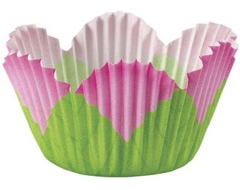 Pink Petal Wilton Mini Cupcake Liners Baking Cups Muffin Cups - baking supplies, mini baking cups, cupcake supplies