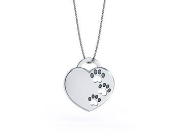 Handmade Paw Prints On My Heart Pendant. Sterling Silver pendant and necklace. Great for all the Dog and Cat Lovers