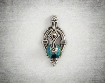 Turquoise and Silver Art Deco Bindi - Tribal Belly Dance