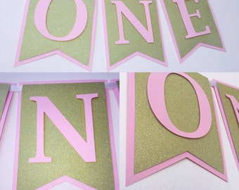 Pink and gold banner, first birthday banner, pink and gold first birthday decor, pink and gold party decor, blush pink and gold banner