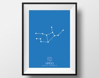 Virgo print, Virgo art, Virgo poster, Zodiac Signs art, Zodiac Signs print poster, Virgo, Astrology art, Astrology print, Astrology poster